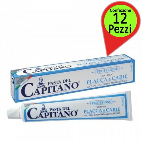 Dentifricio Pasta del Capitano Placca&Carie Confezione da 12 Pacchi da 75 Millilitri Ciascuno