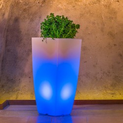 MONACIS VASO STILO SQUARE TOP CM 40 X 40 X H 90 BLUE LIGHT LED