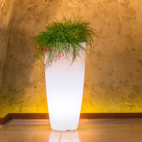 MONACIS VASO STILO ROUND TOP BRIGHT WHITE LIGHT DIAMETRO CM 40 altezza cm 90