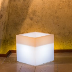 MONACIS - CUBE POT BRIGHT WHITE VASO LUMINOSO 40 X 40 X 40 CM