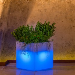 MONACIS CUBE POT BRIGHT BLUE VASO LUMINOSO 40 X 40 X 40 CM