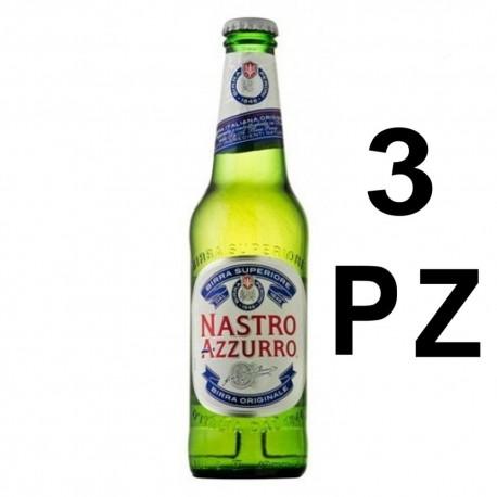Nastro Azzurro Birra 33 cl Confezione da 3 Bottiglie