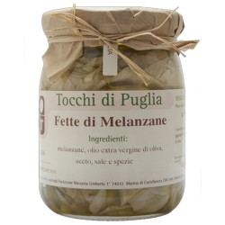 Slices of Aubergines in Extra Virgin Olive Oil in Jar of 500 grams by the organic farm Tocchi di Puglia