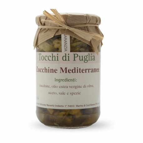 Mediterranean Zucchini in Extra Virgin Olive Oil in Jar of 280 grams by the organic farm Tocchi di Puglia