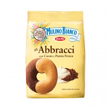 Multipack of 12 Biscuits Mulino Bianco Hugs with Cocoa and Fresh Cream 350 Grams