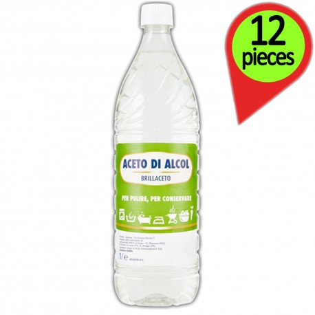 Brillaceto Alcohol Vinegar to Clean and Store Pack of 12 bottles of 1 liter each