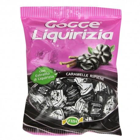 Fida Caramelle Dure Ripiene Gocce di Liquirizia Confezione da 200 gr