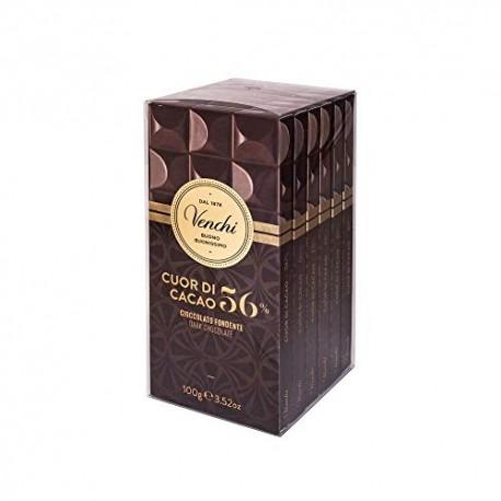 Venchi Kit 6 Tavolette Cuor di Cacao Fondenti, 600 gr