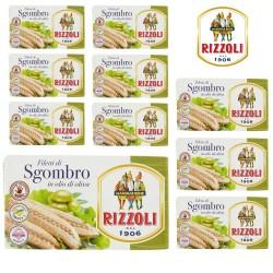 Rizzoli Filetti di Sgombro in Olio di Oliva 28% Confezione 10 Pezzi
