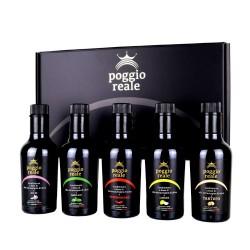 Poggio Reale Cofanetto Olio Extravergine Oliva Aromatizzato 5 Bottiglie ml 0,25