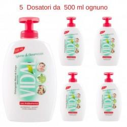 Sapone Liquido Vidal Menta e Lime  5 Dosatori da 500 ml con Antibatterico