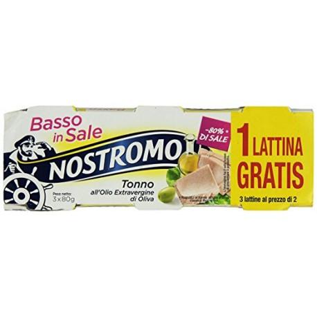 Nostromo Tonno Basso Sale in Olio Extra Vergine d'Oliva Grammi 80x2+1