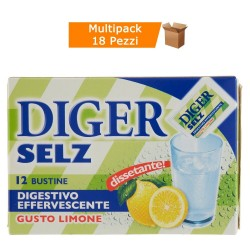 Multipack da 18 Confezioni di Digestivo Diger Selz Effervescente Gusto Limone 216 Bustine Totali