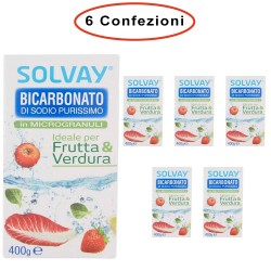 Solvay Bicarbonato di Sodio Ideale per Frutta & Verdura e Superfici 6 Confezioni da 400 Grammi