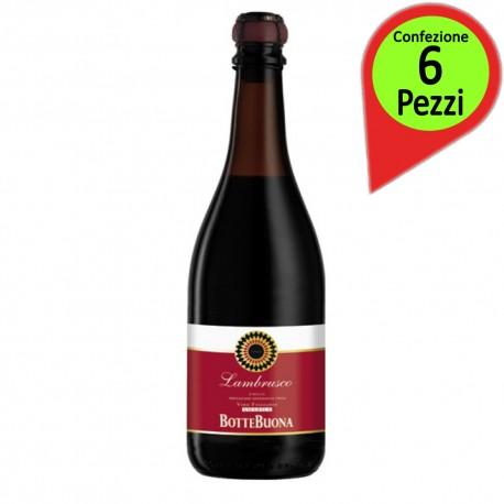 Botte Buona Vino Frizzante Lambrusco Amabile Confezione da 6 Bottiglie da 75 cl Ciascuna