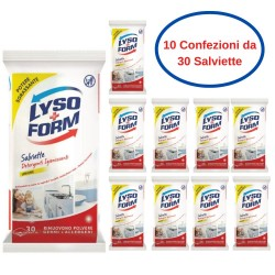 Lyso Form Salviette Igienizzanti Detergenti Multiuso al Limone 10 Confezioni da 30