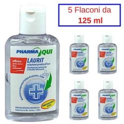 Laurit Soluzione Disinfettante Gel 5 Flaconi da 125 ml Battericida Virucida Rinfrescante