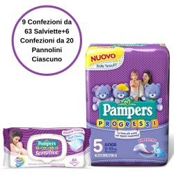Pampers Progressi Pannolini 5 Junior 6 Confezioni + Sensitive Salviette