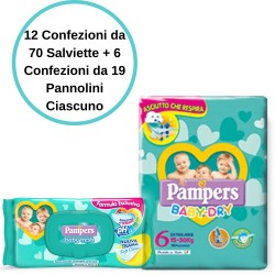 Pampers Baby Dry 6 Extralarge Pannolini 6 Confezioni + Baby Fresh Salviette