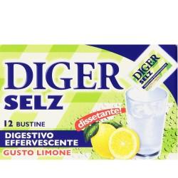 DIGER SELZ Digestivo Effervescente Gusto Limone Confezione Da 12 Bustine