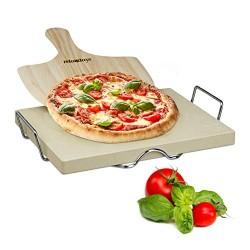 Relaxdays Set Pietra Ollare e Pala per Pizza, Legno, Beige, 31.5x43x7 cm