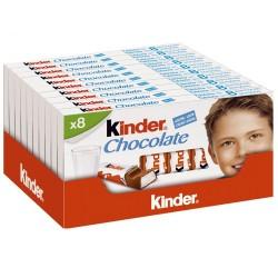 FERRERO KINDER Barrette di Cioccolato al Latte 10 Confezioni Da 8 Barrette Ciascuna 100 Grammi