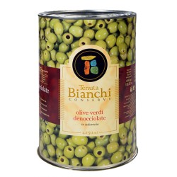 TENUTA BIANCHI CONSERVE Pitted Green Olives In Brine Packaging In Latta From 4.25 Kilograms