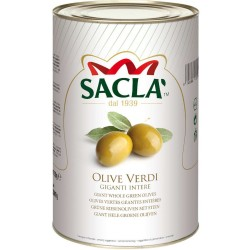 Sacla 'Pitted Green Olives In Tin Box From 2.2 Kilograms