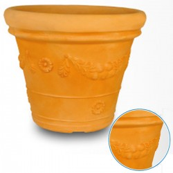 Vaso Festone Doppio Bordo in resina colore terracotta diametro cm 45 h 41,7x37,8