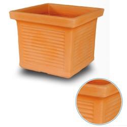 Vaso Quadro Millerighe in Resina cm 50 per Giardino colore Terracotta