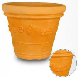 Vaso Doppio Bordo Tondo Festone diametro cm 55 h 54,3x45,6 colore terracotta