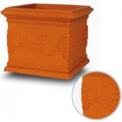 Vaso Quadro Uva 25 Centimetri VT026 Colore Terracotta