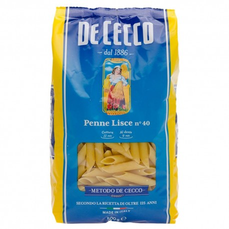 De Cecco Penne Liscie N 40 Grammi 500 Pasta Italiana Buonitaly