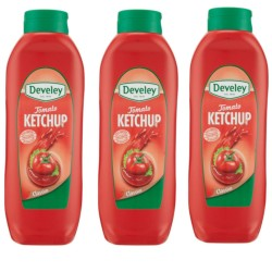 Multipack da 3 Confezioni di Develey Ketchup Tomato Classico Squeeze da 875 Milliliters
