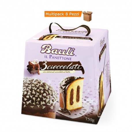 Multipack da 8 Confezioni di Bauli Panettone 3 Cioccolati da 750 Grammi Ciascuno