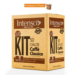 Multipack da 8 Confezioni di Intenso Aroma di Caffè Classico 50 Cialde + Kit
