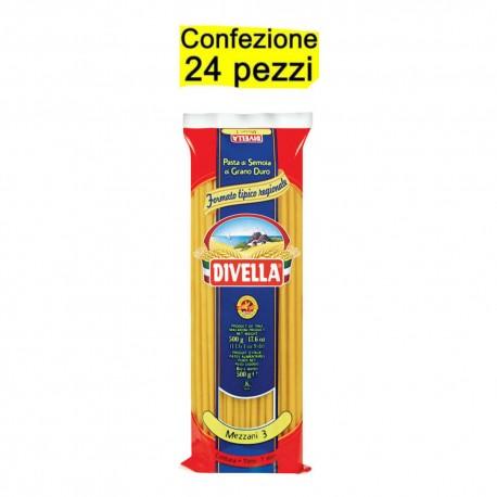 Multipack da 24 Confezioni di Divella Mezzani 3 - Pacchi da 500 Grammi Ciascuno