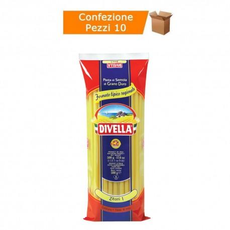 Multipack da 10 Confezioni di Divella Specialità Zitoni 1 - Pacchi da 500 Grammi Ciascuno