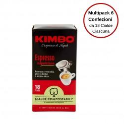 Kimbo Espresso Napoletano Caffe' In Cialde Multipack Da 6 Confezioni Da 18 Cialde Ciascuna