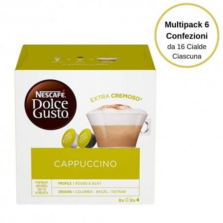 Nescafe' Dolce Gusto Cappuccino Caffe' In Capsule  Multipack Da 6 Confezioni Da 16 Capsule Ciascuna