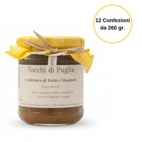 Tocchi di Puglia Confettura di Fichi e Mandorle Multipack da 12 Confezioni in Vasetto da 260 grammi