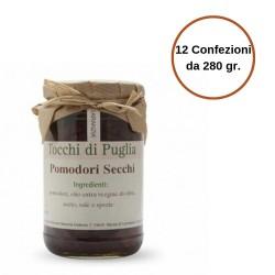 Tocchi di Puglia Pomodori Secchi in Olio Extra Vergine di Oliva Multipack  da 12 Confezioni 280 grammi