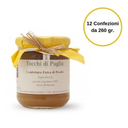 Tocchi di Puglia Confettura Extra di Pesche in Vasetto Multipack 12 Confezioni da 260 grammi