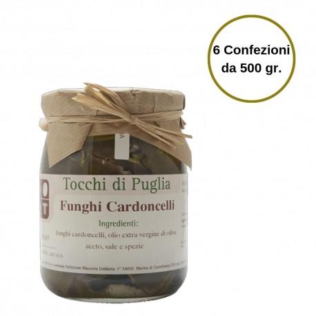Tocchi di Puglia Funghi Cardoncelli in Olio Extra Vergine di Oliva Multipack 6 Confezioni da 500 grammi