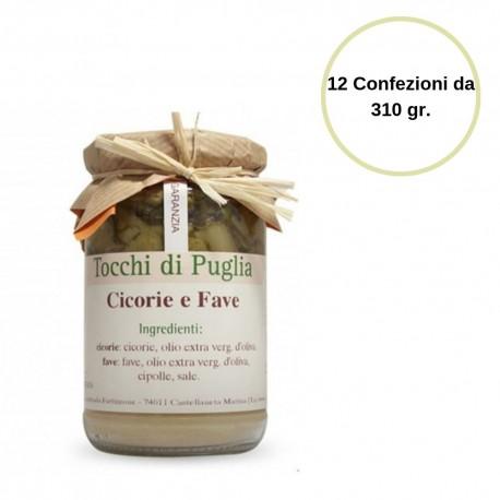 Tocchi di Puglia Cicorie e Fave in Vasetto Multipack 12 Confezioni da 310 grammi