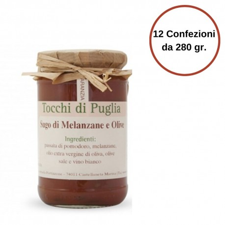 Tocchi di Puglia Sugo con Melanzane e Olive Nere in Vasetto Multipack 12 Confezioni da 280 grammi