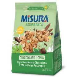 Misura Natura Ricca Biscotti Con Gocce Di Cioccolato Semi di Lino E Amaranto In Confezione Da 250 Grammi
