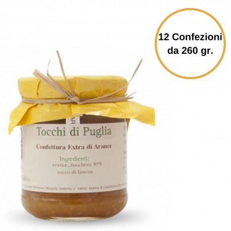 Tocchi di Puglia Confettura di Arance Extra in Vasetto Multipack 12 Confezioni da 260 grammi