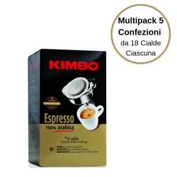 Kimbo Espresso 100% Arabica Caffe' In Cialde Multipack Da 5 Confezioni Da 18 Cialde Ciascuna