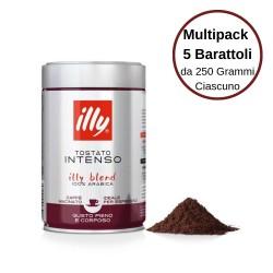 Illy Caffe' Macinato Espresso Tostato Intenso 100% Arabica Macinato Multipack da 5 Barattoli da 250 Grammi